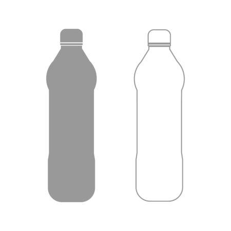 Water plastic bottle it is the grey set icon . Illustration