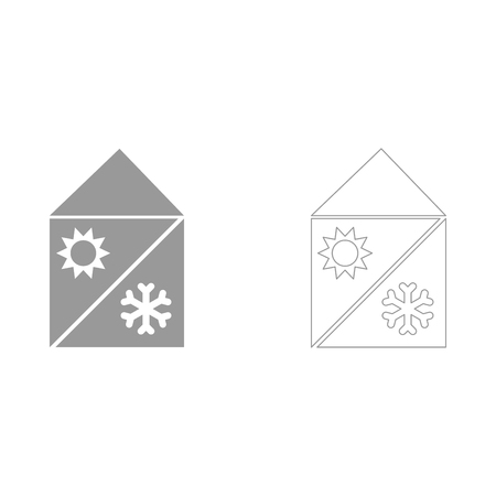Home cooling and heating system  set  icon . Illustration