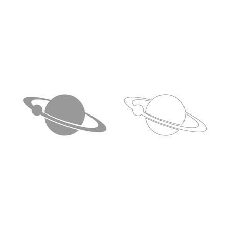 Planet with satellite on the ring it is the grey set icon .