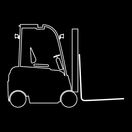 fork lifts trucks: Electric loader it is white color path  icon . Illustration