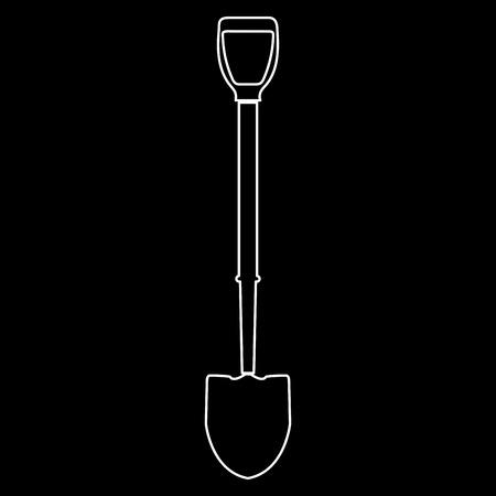 Shovel it is white color path  icon . Çizim