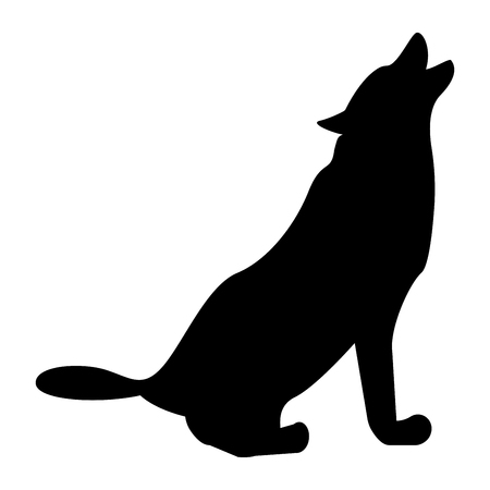 Silhouette of the wolf black it is black color icon .
