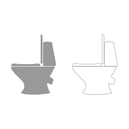 empty the bowel: Toilet bowl it is grey set  icon .