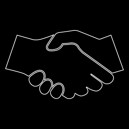 Business handshake it is white color path  icon .