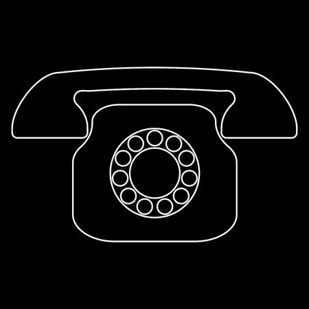 Retro telephone it is white color path  icon .