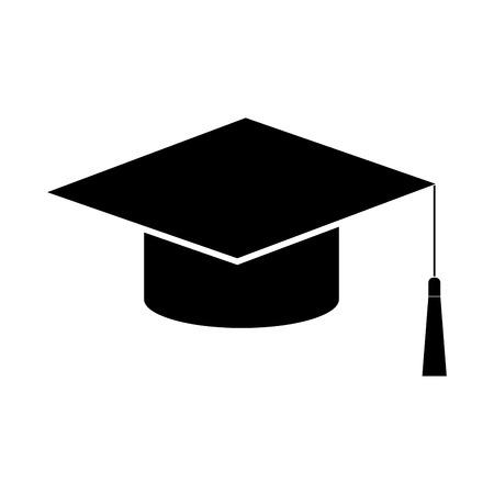 Graduation cap black it is black color icon . Vetores