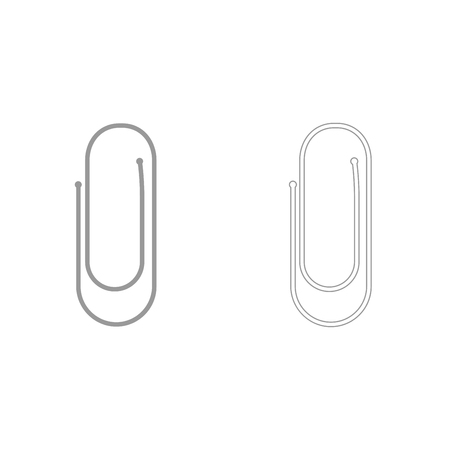 Paper clip it is grey set  icon .