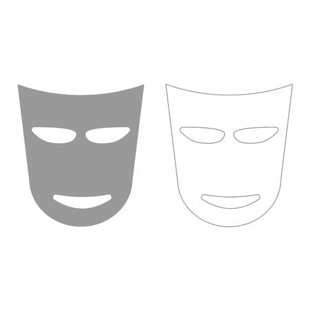 theatre masks: Theater mask it is grey set  icon . Illustration