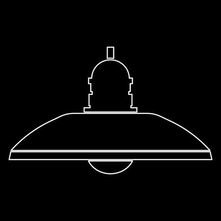 Rétro lampe ménagère et lampe sur le sol c'est l'icône du chemin de couleur blanche. Banque d'images - 82342197