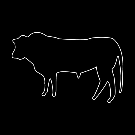 Bull it is white color path  icon . Illustration