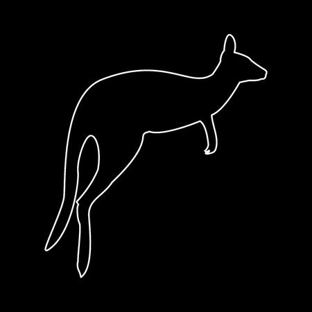 Kangaroo it is white color path  icon . Иллюстрация