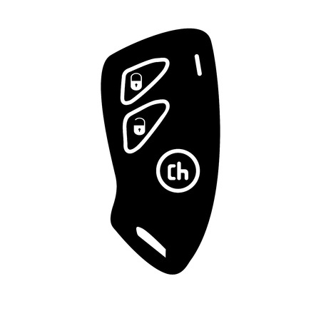 Car key and of the alarm system black it is black color icon . Illustration