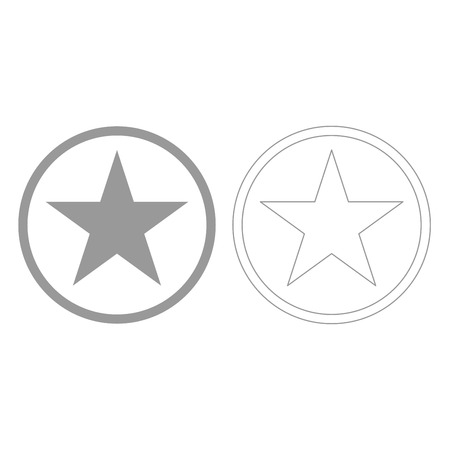 five star: Star in circle it is grey set  icon . Illustration