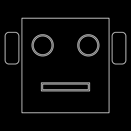Robot head it is white color path  icon .