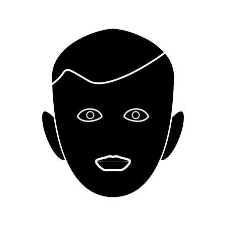Little boy face black it is black color icon . Ilustrace