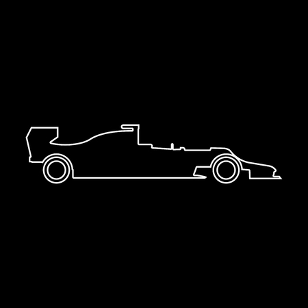 Silhouette of a racing car it is white color path  icon .