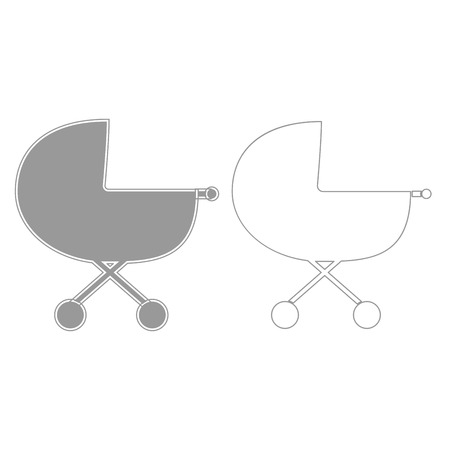 Baby carriage it is grey set  icon .