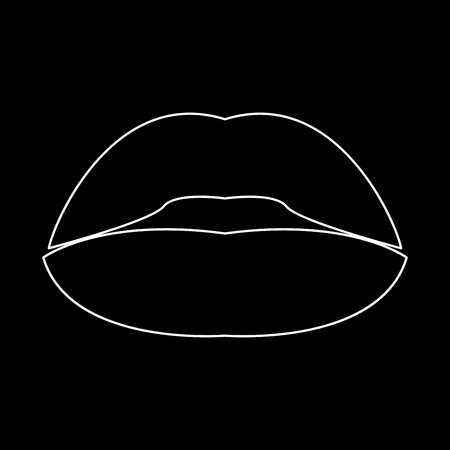 Lipstick or lips it is white color path  icon .