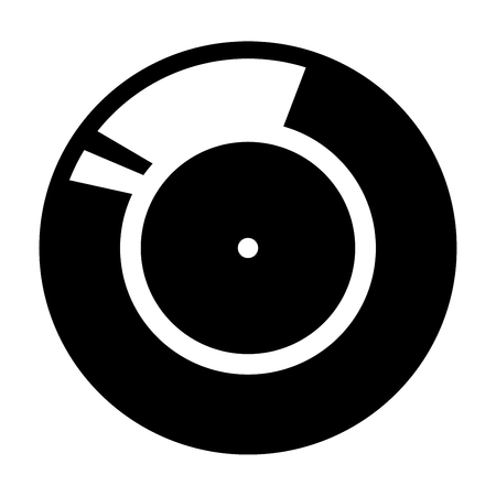electronic music: Vinyl record. Retro sound carrier black it is black color icon . Illustration