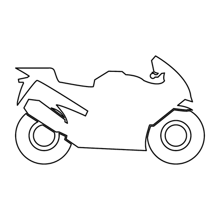 Motorcycle it is black color path icon . Illustration