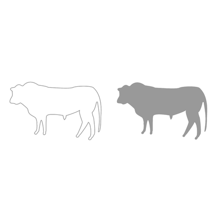 Bull it is grey color set icon .