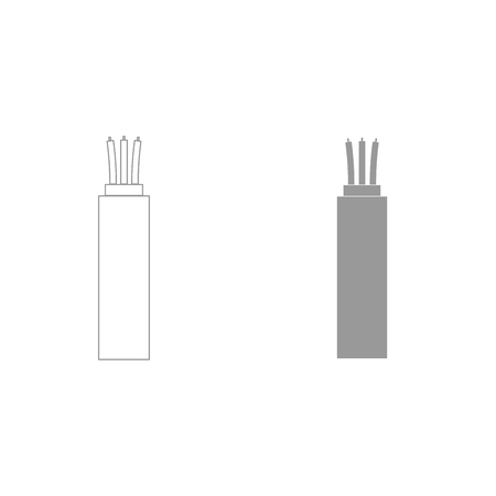 Electric cable it is grey color set icon .