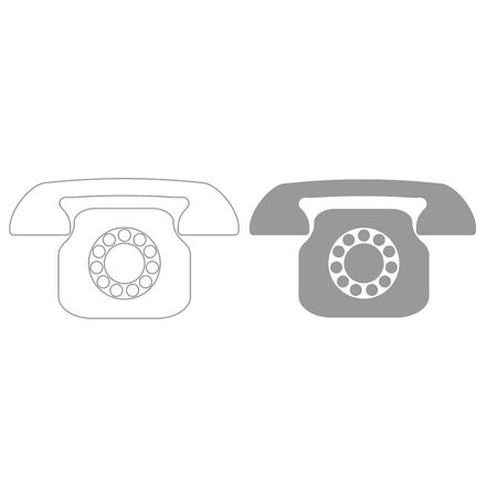 レトロな電話グレー色は、アイコンを設定します。  イラスト・ベクター素材