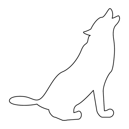 Silhouette of the wolf it is black color path icon .