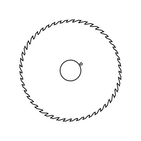 Hoja de sierra circular es icono de ruta de color negro.