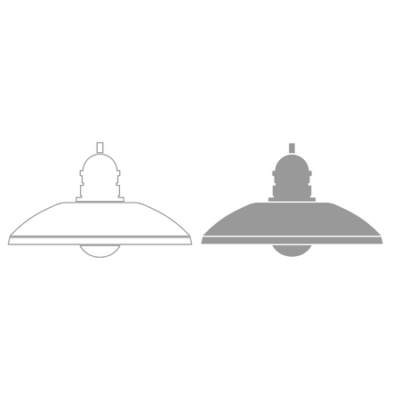 Retro household lamp and floor lamp it is grey color set icon . Illustration