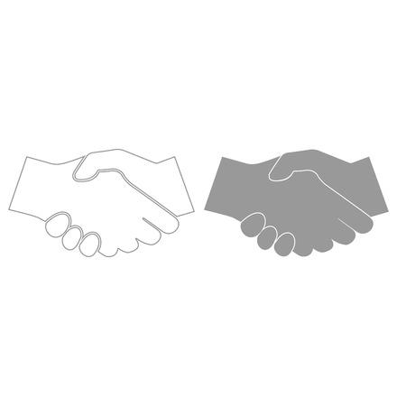 Business handshake it is grey color set icon . Ilustrace