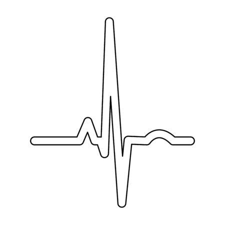 Heart rhythm ekg it is black color path icon . Illustration