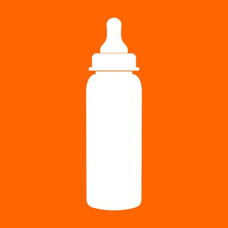 Baby bottle symbol it is white icon .