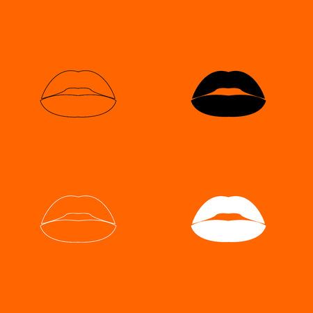 Lipstick or lips icon . Illustration