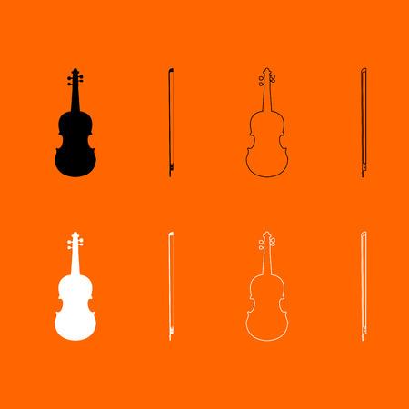 Violin black and white set  icon .
