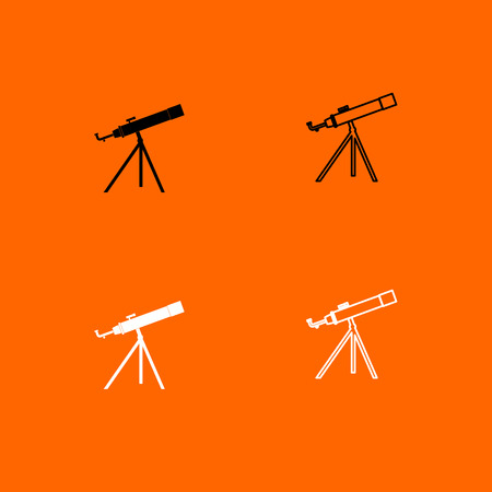 Telescope it is  black and white set icon .