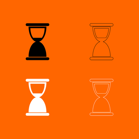 Hourglass it is  black and white set icon .