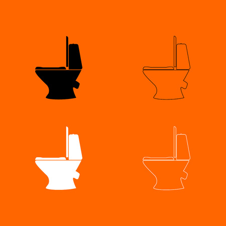 Toilet bowl black and white set  icon .