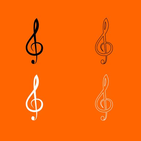 Treble clef  it is  black and white set icon . Illustration