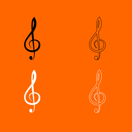 g clef: Treble clef  it is  black and white set icon . Illustration