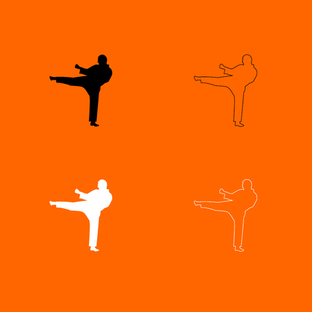 aikido: Karate man  it is  black and white set icon . Illustration