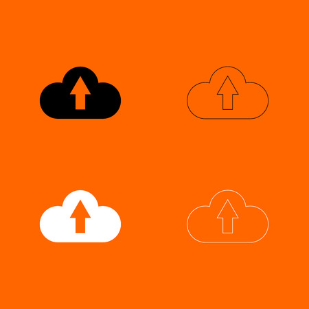Cloud service black and white set  icon .