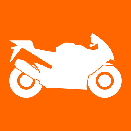 Motorcycle it is white icon . Illustration