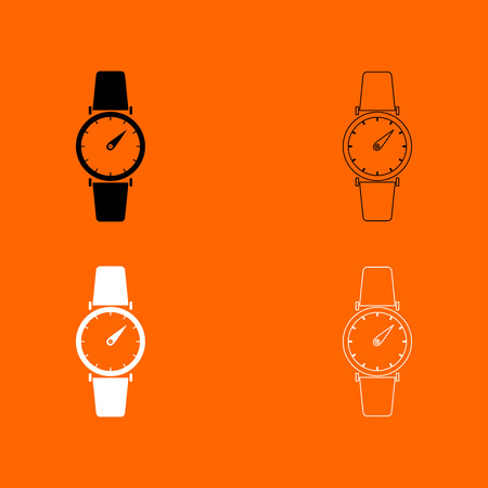 Hand watch it is  black and white set icon . Illustration