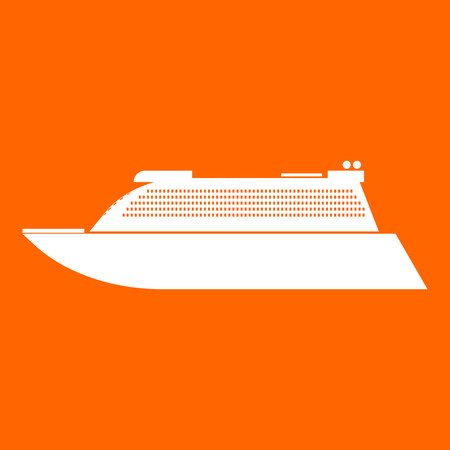 Transatlantic cruise liner it is white icon .