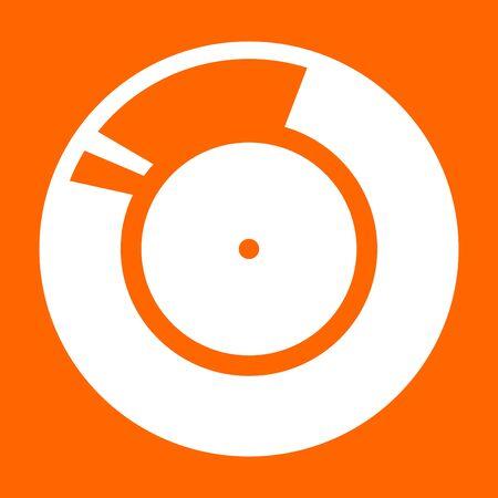 Vinyl record. Retro sound carrier it is white icon .