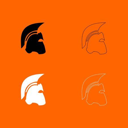 antiquarian: Spartan helmet black and white set  icon .