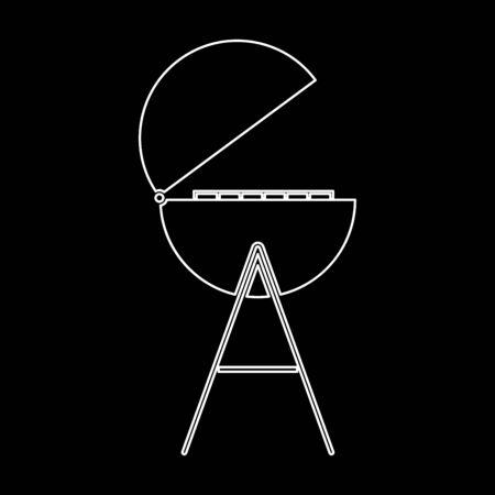 Barbecue or grill  white path icon Vector illustration.