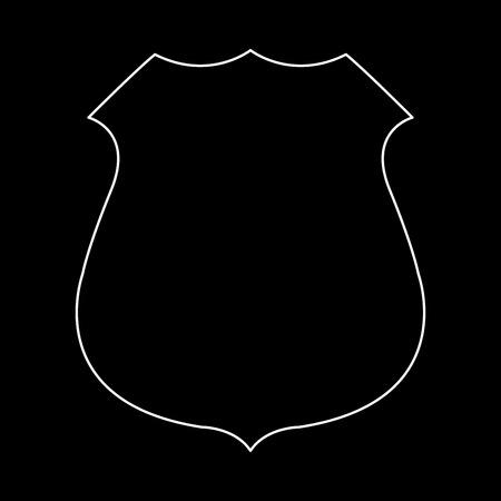 Police badge white path icon Vector illustration. Illustration