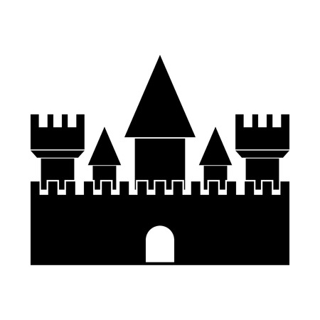Castle  black color icon Vector illustration. Illustration